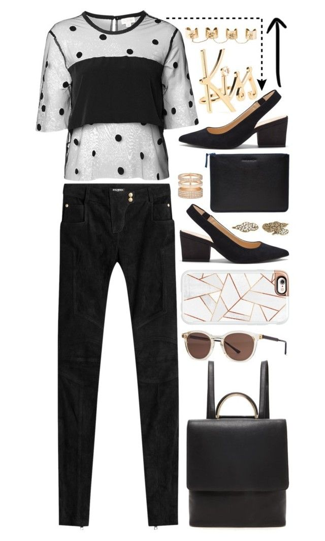"""""""Kiss"""" by cherieaustin ❤ liked on Polyvore featuring Witchery, Sole Society, Balmain, Thierry Lasry, Forever 21, Casetify, Comme des Garçons, Marc Jacobs, Repossi and Lanvin"""