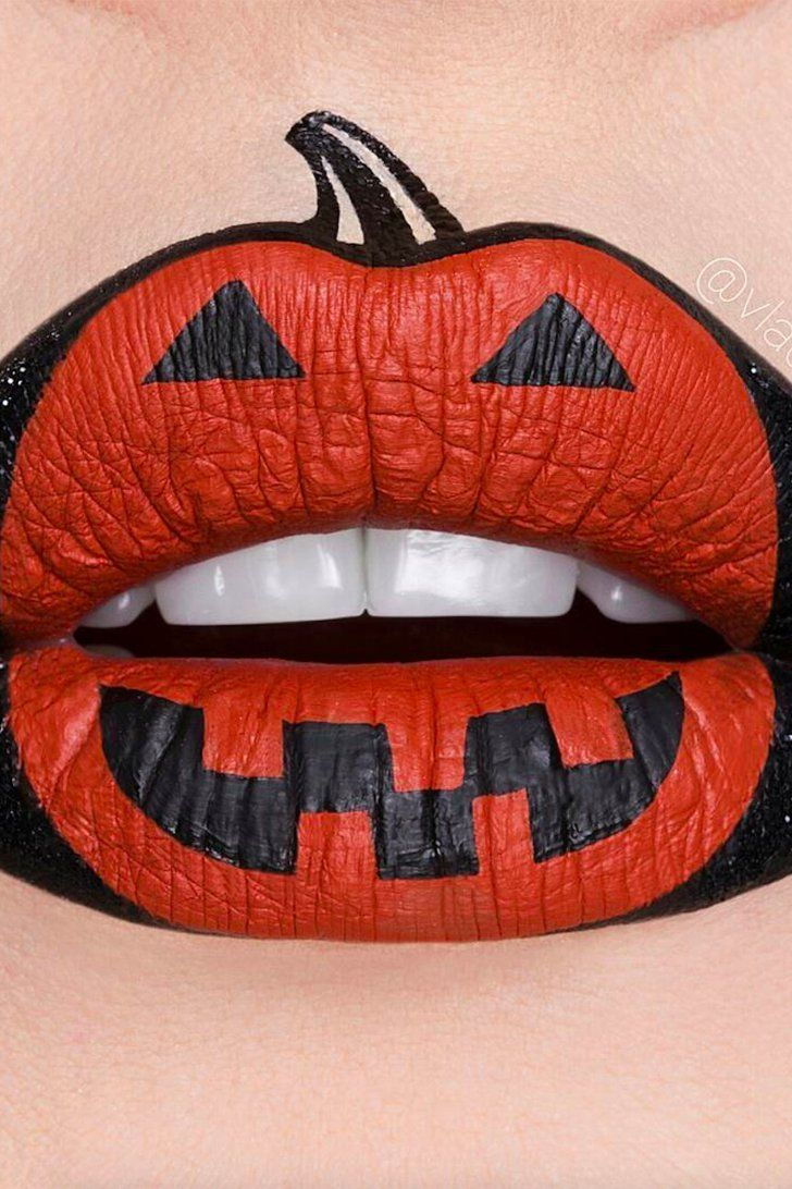 Pucker Up This Halloween With Easy Festive Pumpkin Lip Art Lip Art Halloween Lip Makeup Lip Art Makeup