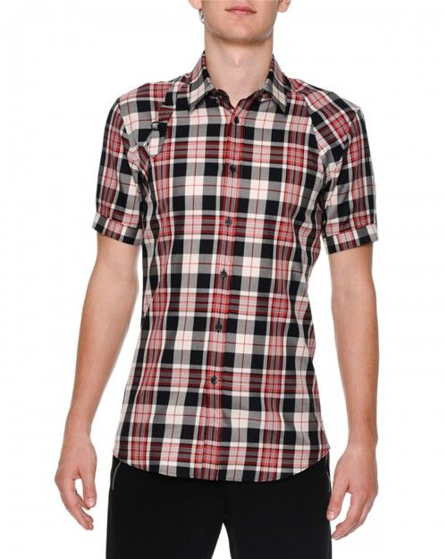 Alexander+Mcqueen+Plaid+Short+Sleeve+Harness+Shirt+Black+Red+50+|+Top+and+Clothing