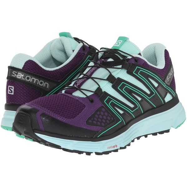 Salomon X-Mission 3 (Cosmic Purple/Igloo Blue/Jade Green) Women's... ($58) ❤ liked on Polyvore featuring shoes, athletic shoes, blue, salomon shoes, blue green shoes, running shoes, purple shoes and green athletic shoes