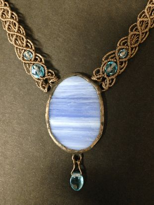 Brown-light blue macrame glass necklace, oval