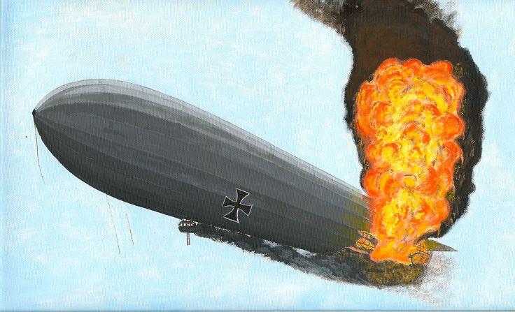 """A WW I German """"Zepplin"""" airship going down in flames after having been shot up by British fighter aircraft. Medium: acrylic on canvas."""