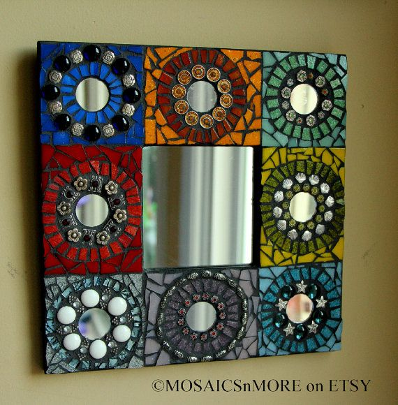 This cute and colorful mirror measures 10x10    I have enjoyed it for a few years now, but is ready to make room for a new project if you would like