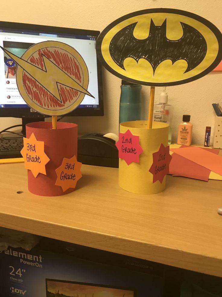 Superhero table decor for after school program