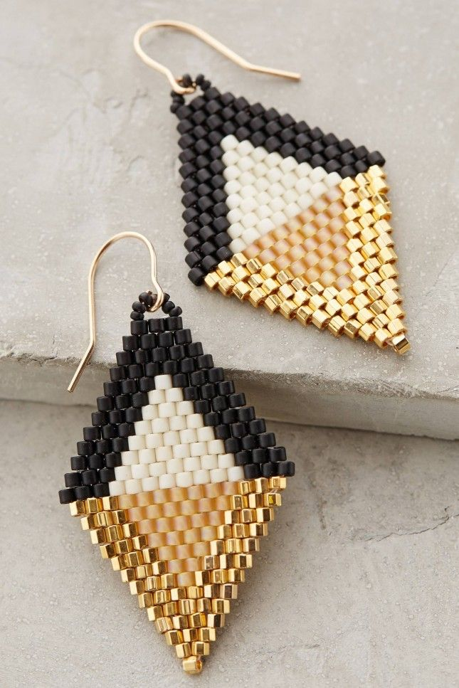 Love these beaded diamond drop earrings.