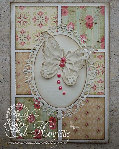 handmade card ... Vintage look ... die cut butterfly ... twinchies of wallpaper print look papers ...