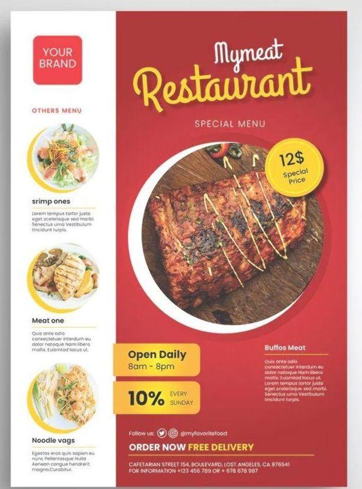 Meat Restaurant Flyer Template Psd A4 Download Food Menu