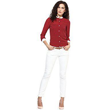 Urban Women womenMaron woven formal shirt, has a contrast mandarin collar-Medium