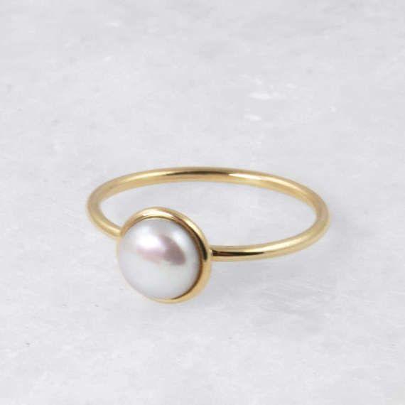Single Pearl Ring Yellow Gold 14 karat Ring Natural Pearls
