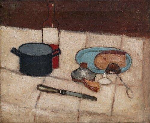 Jerzy Nowosielski, Martwa natura z butelką, 1951, olej na płótnie, 50 x 60 cm, fot. dzięki uprzejmości Galerii aTAK, Warszawa