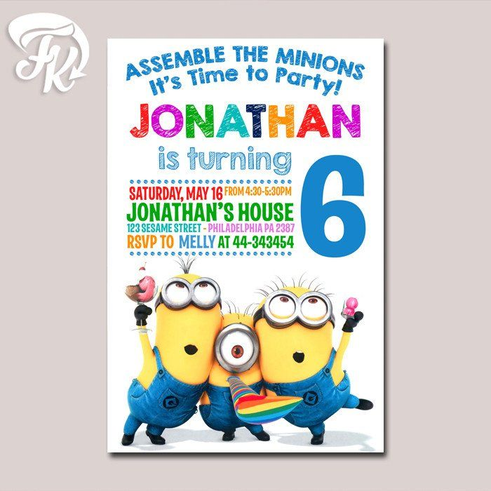 Minions Time Party Kids Birthday Party Card Digital Invitation Kid Birthday…