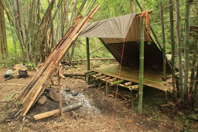 Bamboo lean to with reflective fire wall home sweet home for How long to build a house