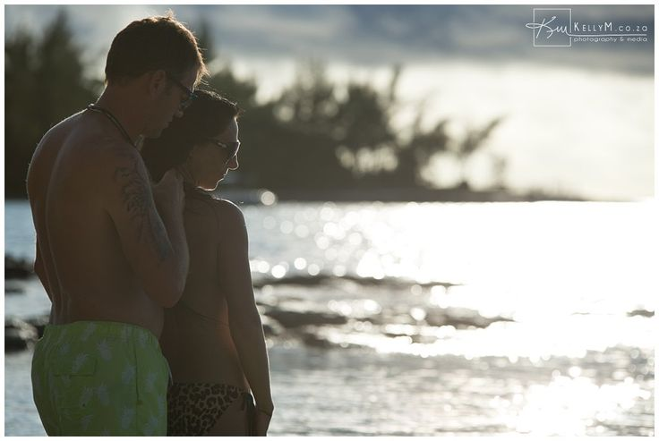 intimate moment during sunset in Mauritius