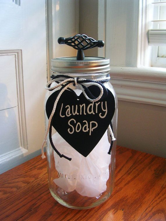Laundry Soap Mason Jar Container/Laundry Room by MonikasBoutique