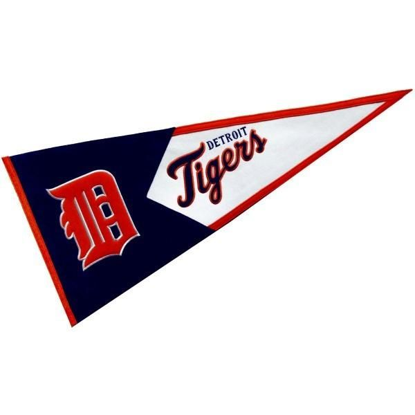 Our Detroit Tigers Baseball Pennant is constructed of thick wool, measures 18x40 inches, and offers embroidered Detroit Tigers logos and lettering. Our Detroit Tigers Baseball Pennant is similar to the high quality MLB pennants made in the early days of baseball and can be viewed as a collectable.