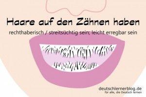 Haare_auf_Zähnen_Redewendungen_Bilder_deutschlernerblog