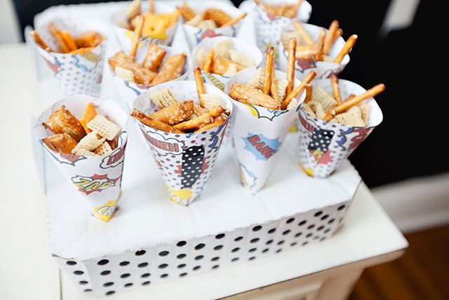 Snack cones made from super hero printables. | Super Hero Birthday Party by Worthington Weddings & Events     {Photography c/o Molly Dues Photography] #worthingtonevents #worthingtonweddings #worthingtonweddingsevents