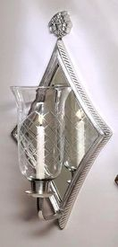 N842 - Antique Silver Diamond Mirrored Hurricane Wall Sconce - Candle Holder