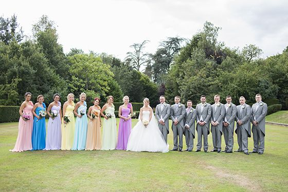 Carrie and Patrick – WEDDING Dunchurch Park hotel Rainbow wedding pastel bridesmaids/ different colour bridesmaid dresses