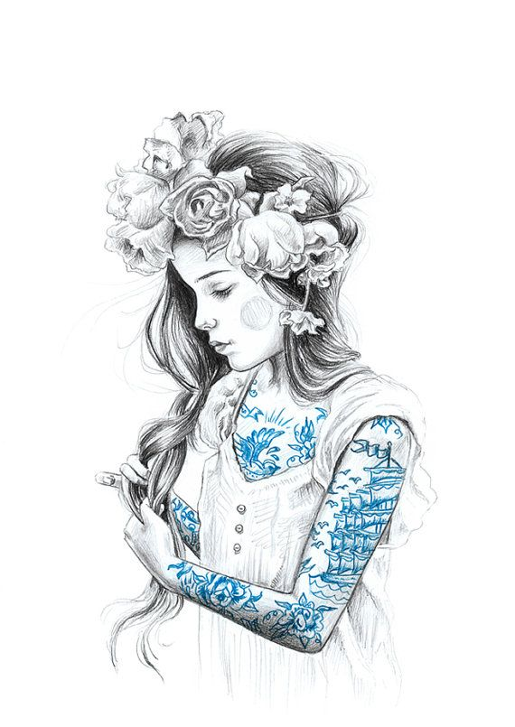 girl with tattoos art print  limited edition by JulieFilipenko, ₪110.00