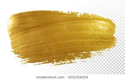 Gold Paint Brush Vector Smear Stroke Acrylic Golden Color Stain On Transparent Background