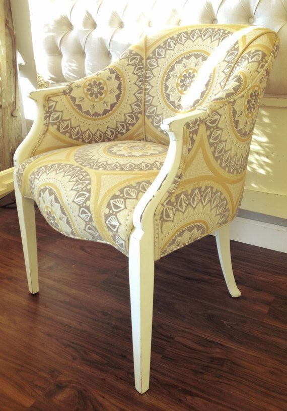 Newly Upholstered Vintage Chair In Grey, Yellow U0026 White.