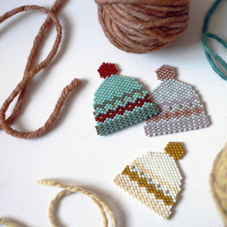 Bonnets en tissage de perles