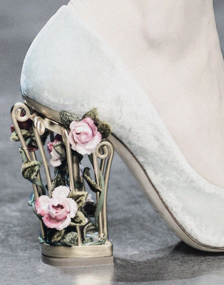 Frosted flower shoe detail from Dolce & Gabbana