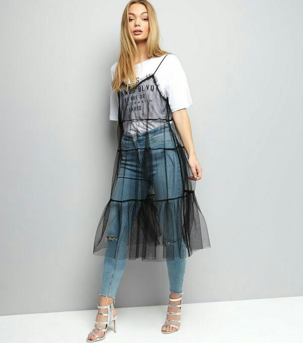 Denim outfit with tulle transparent dress