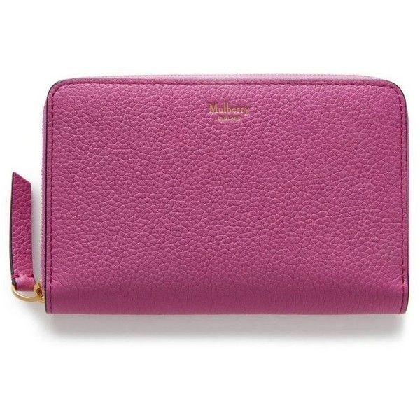 Mulberry Medium Zip Around Wallet (£260) ❤ liked on Polyvore featuring bags, wallets, zip around wallet, leather pocket wallet, purple leather bag, zip bag and purple wallet