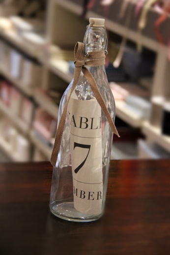 Message in a bottle table number www.papyrusdesign.com