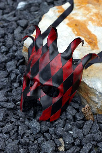 Black and Red Jester Leather Mask by *OsborneArts on deviantART