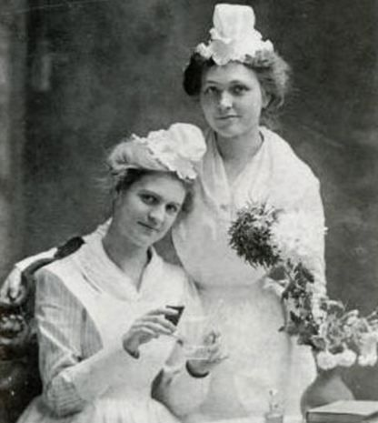 Belle McLaughlin and Miss Bell wear the cap of the Virginia Training Hospital School for Nurses, 1901