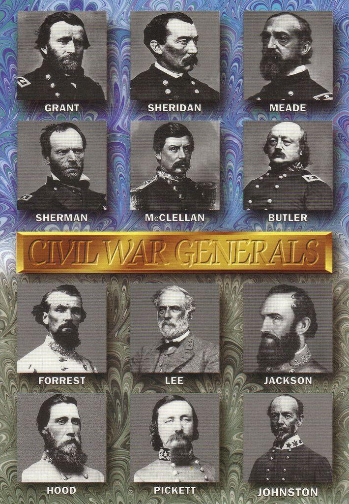 Civil War Generals Postcard | Top rows: Union Generals Botto… | Flickr