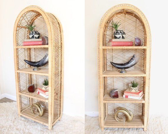 Vintage Rattan Shelf Arched Bookshelf Wicker Shelf Boho