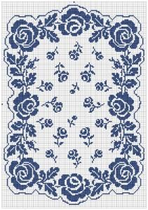 The Rose Garden | Free doily pattern in Filet Crochet | Chart for pattern - Gráfico