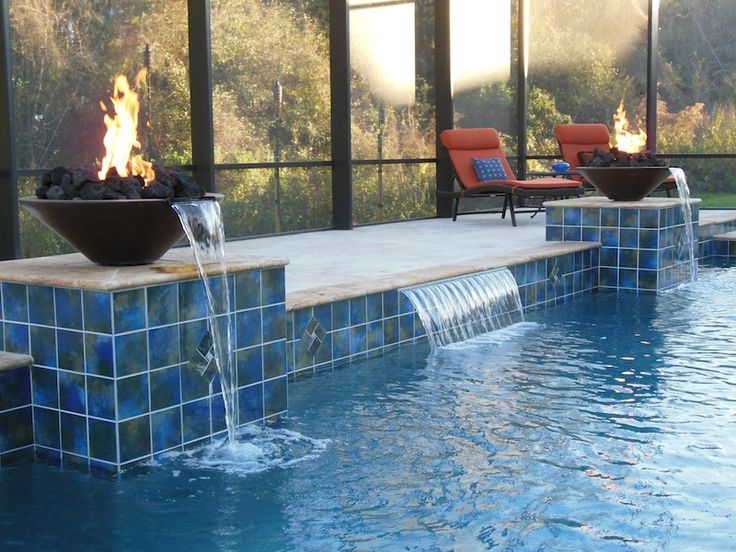 70 best pools with fire images on pinterest backyard - Pool fire bowls ...