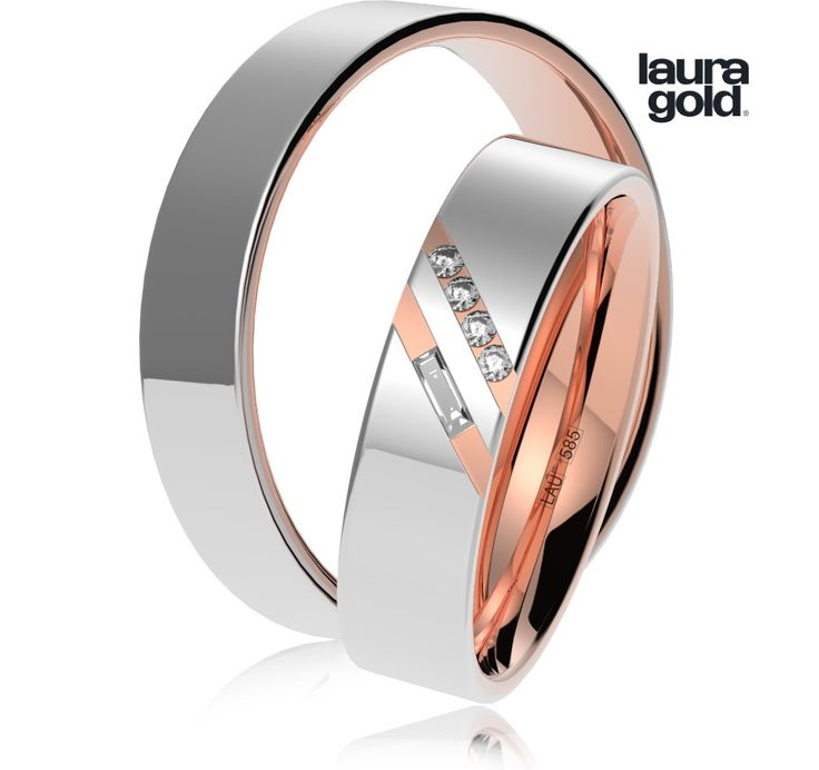 Svadobné obrúčky - 1031 Obrúčky vyrábané z dvoch materiálov a to bieleho a červeného zlata. V šikmej línii sú osadené 1,25mm zirkóny a v druhej línii je šikmo osadený kameň v tvare obdĺžnika. Obrúčky majú šírku 5mm . Obrúčky sú dostatočne masívne a pôsobia naozaj luxusne. #wedding #rings #exhibition #instalike #instagood #sperky #obrucky #2016 #svadba #wedding #slovensko #lauragold #goldsmith