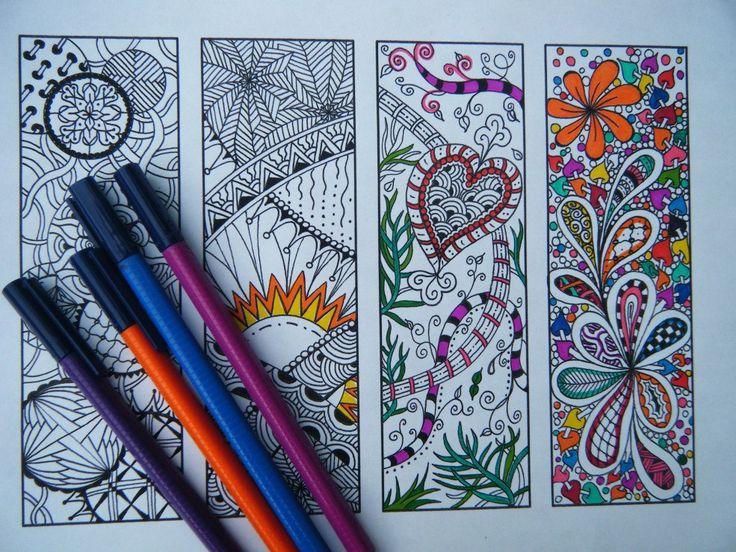 Printable Bookmarks - Bookmark Coloring Page - Zentangle Inspired - Digital Download - Bookmark Number 1. $3.25, via Etsy.