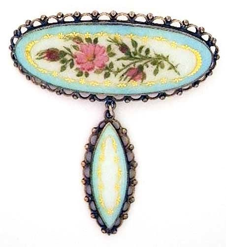 Norsk Filigransfabrikk Sterling + Enamel Pin w Drop~Norway Pastel Flower Brooch