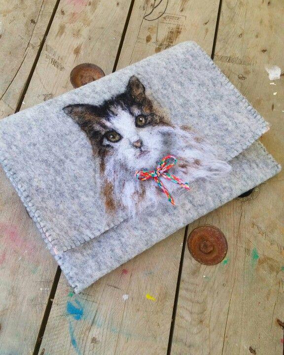Needlefelting  cat . bag , clutch , cat , kedi . instagram : handesanat