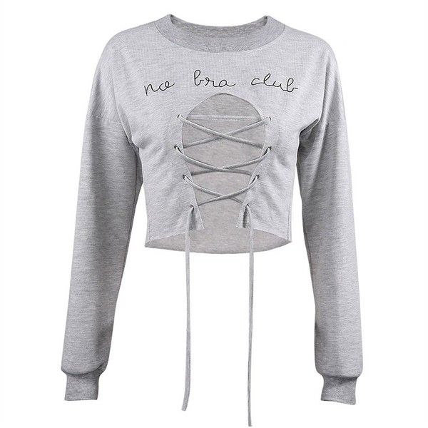Amazon.com: ZMLIA Feminist Women's No Bra Club Letter Printed Long... ($17) ❤ liked on Polyvore featuring tops, hoodies, sweatshirts, long sleeve crop top, grey cropped sweatshirt, long sleeve tops, cropped sweatshirt and grey sweatshirt