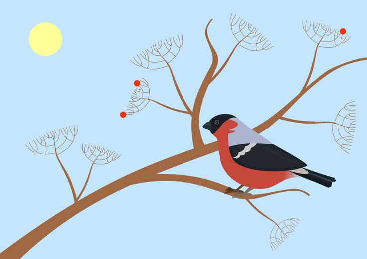 Ягоды для птицы, рисование
