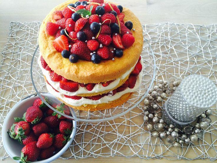 Strawberry Almond Sponge Layer Cake