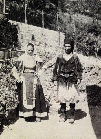 A young man and woman wear the traditional dress of central Sardinia - Sardegna 1916   #TuscanyAgriturismoGiratola