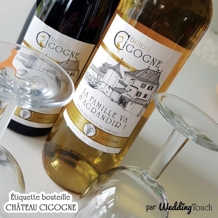 Idée d'annonce grossesse originale: étiquette à coller sur bouteille de vin, rouge rosé ou blanc, à offrir à vos proches pour annonce de grossesse originale ©weddingtouch