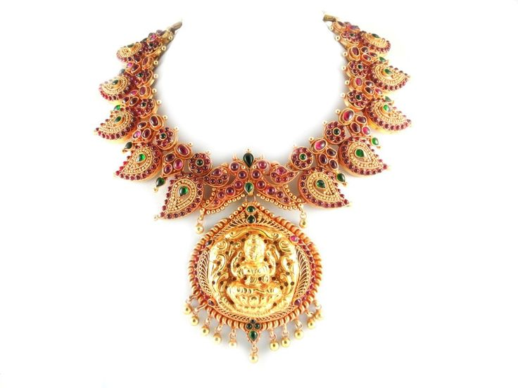 Necklace With Ruby Emerald Mango And Lakshmi Pendant