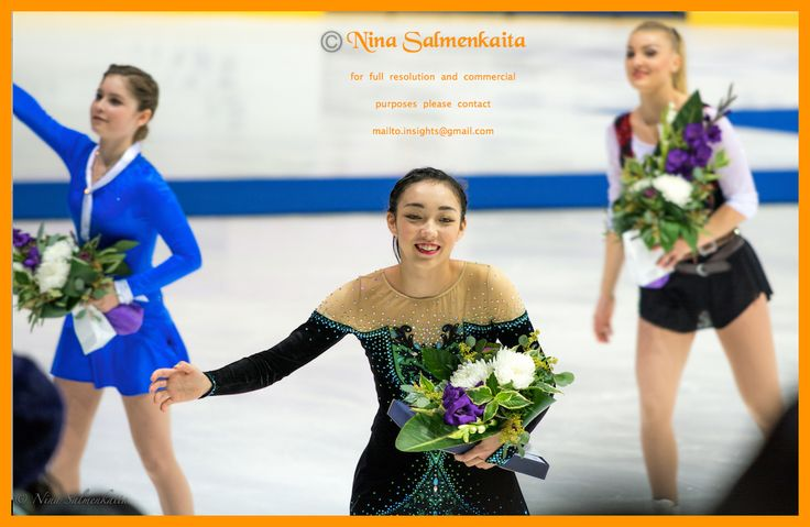 Rika Hongo JPN together with Julia Lipnitskaja RUS & Joshi Helgesson SWE at Finlandia Trophy October 2015