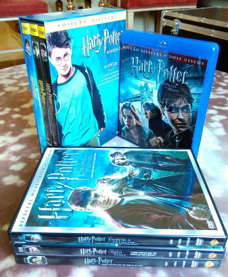 Seis DVDs HP ano 01 a 06 e Blu-ray Harry Potter e as Relíquias da Morte - Parte 1. R$ 60,00.