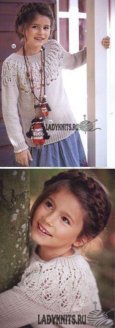 Джемпер спицами с ажурной кокеткой для девочки